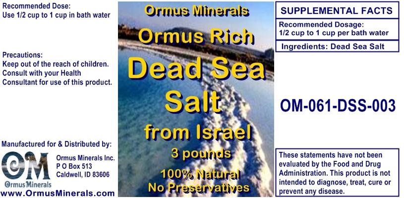 Ormus Minerals Dead Sea Salt from Israel 3 lbs