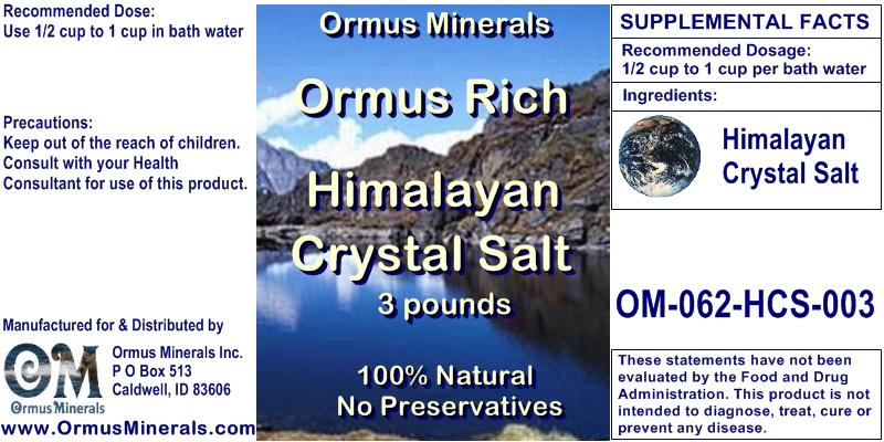 Ormus Minerals Himalayan Crystal Salt 3 lbs