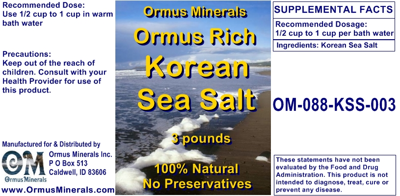 Ormus Minerals Korean Sea Salt 3 lbs