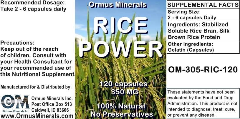Ormus Minerals - Rice Power