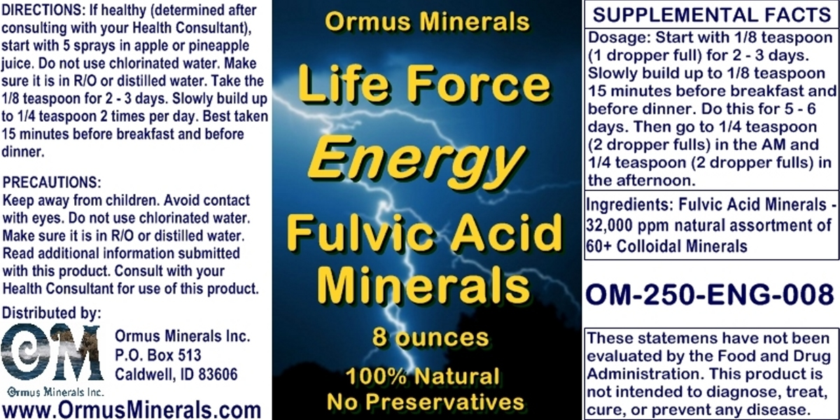 Ormus Minerals Life Force Fulvic Acid Minerals