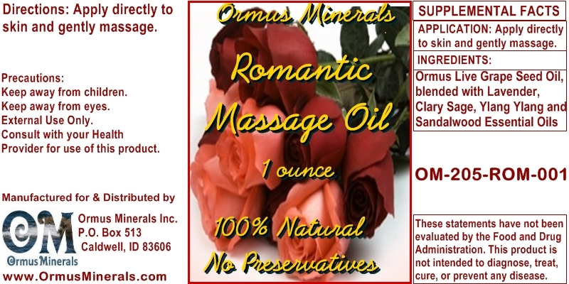 Ormus Minerals Romantic Massage Oil