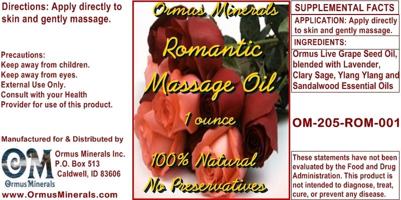 Ormus Minerals Romantic Massage Oil