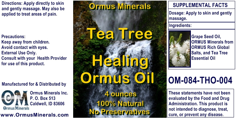 Ormus Minerals Healing Oil with Tea Tree Essential Oil