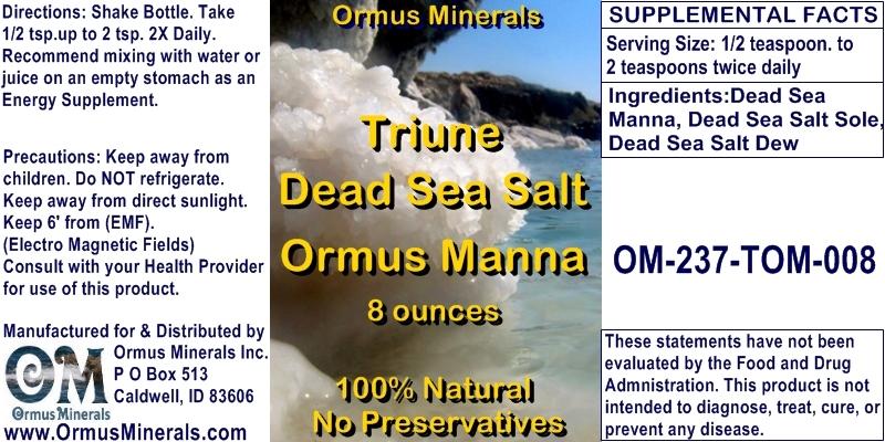 Ormus Minerals Triune Dead Sea Salt Ormus Manna